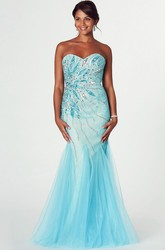 Mermaid Beaded Sweetheart Sleeveless Tulle Prom Dress With Low-V Back