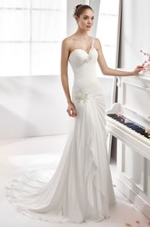 One-Strap Sheath Chiffon Wedding Dress With Side Draping And Pleated Details