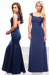 Mermaid V-Neck Sleeveless Maxi Appliqued Satin Bridesmaid Dress With Keyhole Back And Beading