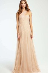 Maxi Criss-Cross Sleeveless One-Shoulder Tulle Bridesmaid Dress