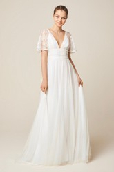 Ethereal Illusion Short Sleeve Lace And Tulle Wedding Dress