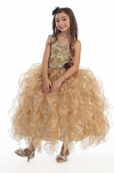 Floral Long Tiered Organza Flower Girl Dress With Straps