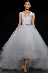 Magnificent Lace Bodice High-low Tiered Tulle Ball Gown With Crystal Belt
