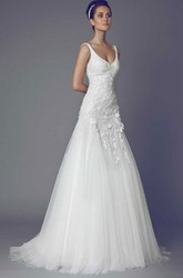 Long V-Neck Appliqued Tulle Wedding Dress With Sweep Train And V Back