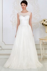 A-Line Scoop-Neck Floor-Length Criss-Cross Sleeveless Tulle Wedding Dress With Beading