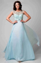 Beaded Bodice Cap Sleeve Chiffon Prom Dress With Bateau Neck