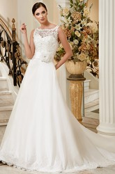 A-Line Sleeveless Floor-Length Appliqued Bateau-Neck Satin Wedding Dress With Flower