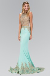 Two-Piece Sheath Long Scoop-Neck Sleeveless Jersey Illusion Dress With Beading And Appliques