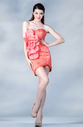 Pencil Short Sweetheart Sleeveless Satin Dress With Lace And Flower