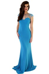 Sheath Long Cap-Sleeve High-Neck Beaded Jersey Prom Dress With Flower