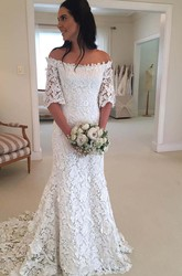 Sheath Off-the-shoulder Lace Zipper Wedding Dress