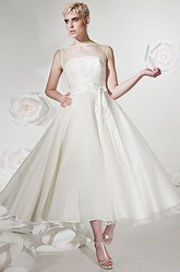 A-Line Tea-Length Sleeveless Jewel-Neck Tulle&Satin Wedding Dress With Ribbon And Illusion