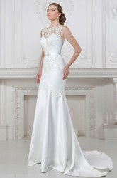 Sheath Appliqued Sleeveless Maxi Jewel-Neck Satin Wedding Dress With Bow