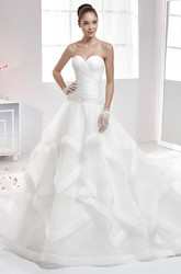 Sweetheart Pleating Wedding Gown with Ruffle Skirt and Brush Train