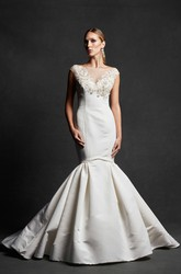 Mermaid Cap-Sleeve Appliqued Bateau-Neck Satin Wedding Dress With Beading And Illusion
