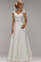 A-Line V-Neck Long Cap-Sleeve Jeweled Lace Wedding Dress With Appliques And V Back