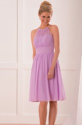 Jeweled High Neck A-Line Knee-Length Bridesmaid Dress With Pleats