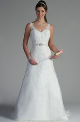 V Neck Appliqued Top A-Line Tulle Bridal Gown With Sequins And Crystals