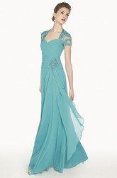 Queen Anne A-Line Chiffon Long Prom Dress With Appliques And Illusion Back
