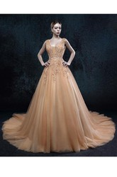 A-line V-neck Sleeveless Backless Tulle Dress