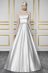 A-Line Sleeveless Strapless Floor-Length Jeweled Satin Wedding Dress With Bow And Backless Style