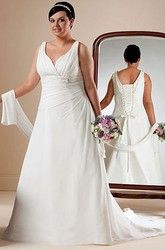 Lace-up A-line Bridal Gown With Shawl And Waist Flower