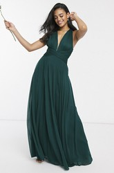Straps Back Sexy Sleeveless And Ruching Plunging Neckline Bridesmaid Dress