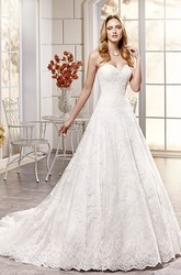 A-Line Maxi Sweetheart Lace Wedding Dress With Appliques And V Back