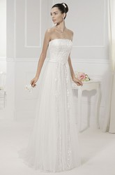 Strapless Sequined Tulle Bridal Gown With Removable Illusion Neck