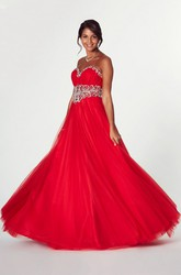 A-Line Sleeveless Ruched Sweetheart Tulle Prom Dress
