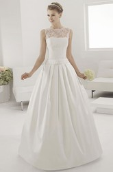 Illusion Lace Neck Sleeveless Taffeta Bridal Gown With Belt