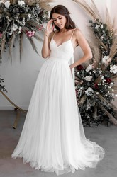 Court Train Ethereal Sexy Lace Tulle Spaghetti V-neck A-line Casual Bridal Gown