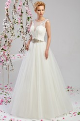 A-Line Scoop-Neck Floor-Length Sleeveless Appliqued Tulle&Satin Wedding Dress With Waist Jewellery