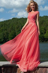 Appliqued Scoop-Neck Floor-Length Prom Dress