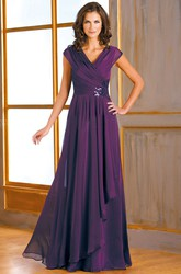 Cap-Sleeved V-Neck A-Line Mother Of The Bride Dress With Side Sequins And Ruffles