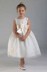 Tea-Length Tiered Bowed Tulle&Satin Flower Girl Dress With Split Front