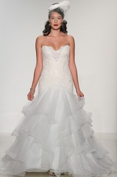 A-Line Sweetheart Tiered Floor-Length Organza&Lace Wedding Dress With Appliques And Deep-V Back