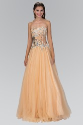 A-Line Strapless Sleeveless Tulle Backless Dress With Beading And Ruffles