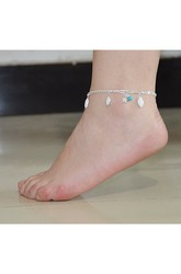 Summer Hot Fashion Transparent Rhinestone Small Double Star Ankle Bracelet 27??Cm