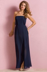 Strapless Flowy Long Chiffon Bridesmaid Dress With Pleats And Illusion Style