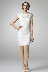 Short Sleeve High Neck Lace Wedding Dress