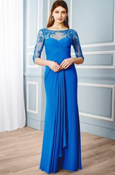 Scoop-Neck Floor-Length Criss-Cross Half-Sleeve Jersey Formal Dress With Draping And Appliques