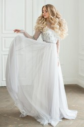 Tulle Satin Beaded Lace Embroidered Wedding Dress