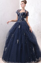 Exquisite Princess Ball Gown Tulle Prom Dress With Appliques