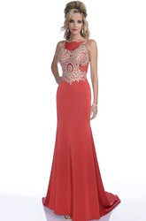 Open Back Sleeveless Form-Fitted Chiffon Prom Dress With Jeweled Bodice