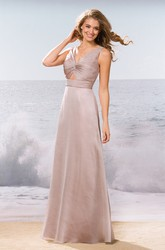 Sleeveless V-Neck Long Bridesmaid Dress With Keyhole And Ruches