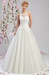 A-Line Sleeveless Appliqued Maxi Scoop-Neck Tulle&Satin Wedding Dress