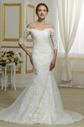 Off-the-shoulder Illusion Button Back Lace Elegant 3/4 Sleeve Mermaid Wedding Dress