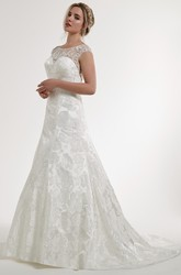 A-Line Embroidered Scoop Floor-Length Cap-Sleeve Satin Wedding Dress With Illusion Back And Appliques