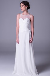 Sheath Sleeveless Scoop-Neck Criss-Cross Floor-Length Chiffon Wedding Dress With Beading